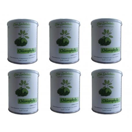 Chlorophylle - 6 pots 800 ml de Cire à épiler jetable