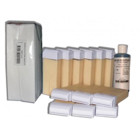 NACREE BLANCHE - 12 x 100 cire à épiler + 250 bandes + huile