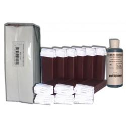 CHOCOLAT - 12 x 100 cire à épiler + 250 bandes + huile