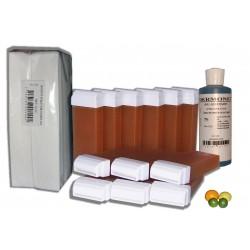 AGRUMES MIEL - 12 x 100 ml cire à épiler, 250 Bandes + Huile