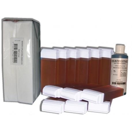 TOPAZ type Miel - 12 x 100 cire à épiler + 250 bandes + huile