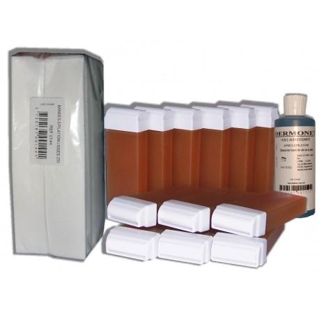 Miel - 12 x 100 ml cire à épiler + 250 Bandes + Huile