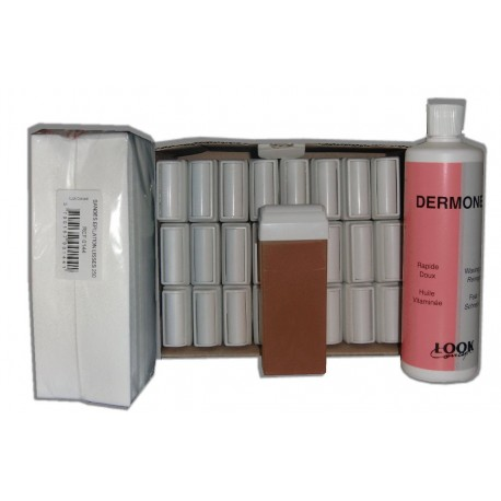 TOPAZ type Miel - Recharge cire roll on -24x100ml - Bandes, huile 500ml